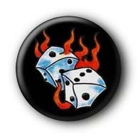 Flaming Dices Button Badge #1