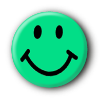 Grüner Smiley Button Pin