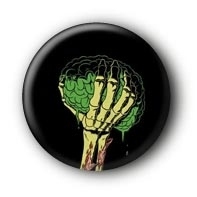 Dead Brain Zombie Button Pin
