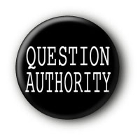 Question Authority Button Pin